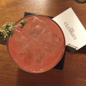 Delicious drink with fresh oregano and karpouzi (watermelon)