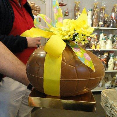 Jan showing us a large easter egg