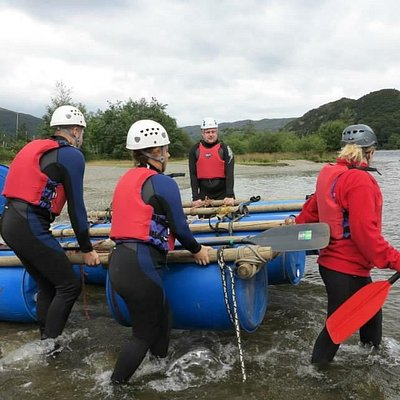 Raft building and gorge walking with the fam!!