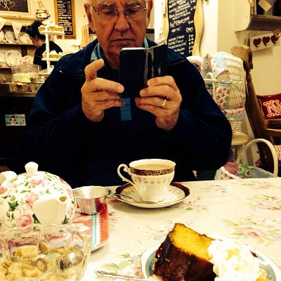 "Chocolate Orange cake and a ""proper"" cup of tea at Old New Beginnings Vintage Tea Room - just so"