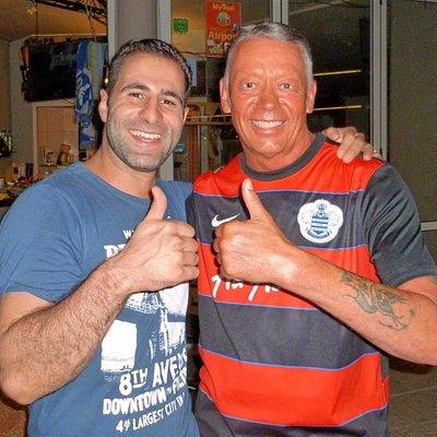 Giorgos Xnaras and Ian Cox at the New Planet Soprts Cafe Platanias, Crete