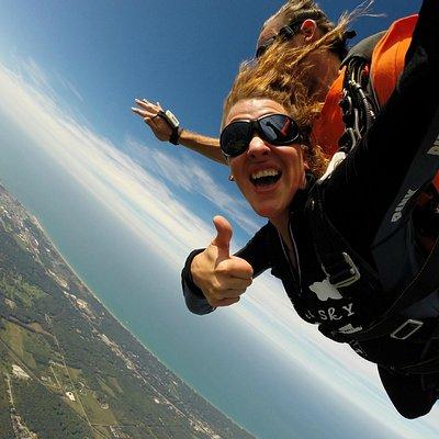 Skydiving next to Lake Michigan near Chicago