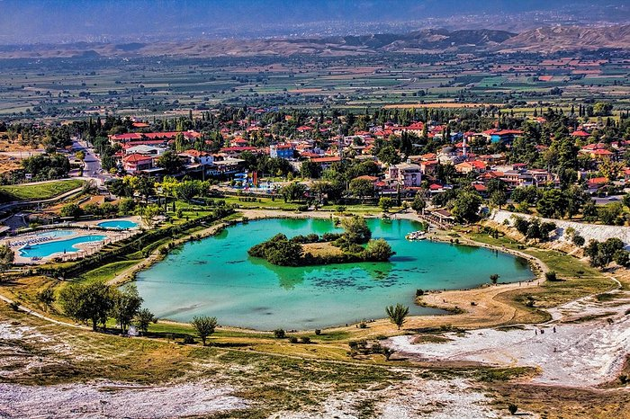 view from the top of Pamukkale into the valley