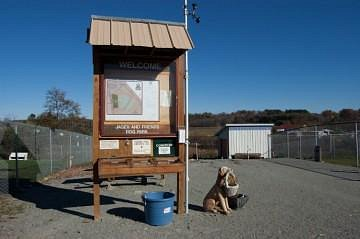 Jager and Friends a Dog Park Welcome Sign