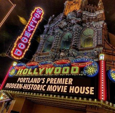 Hollywood Theatre facade - night