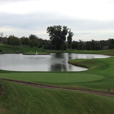 Overlooking 9th hole green.  (Yes, that is a large water hazard)!