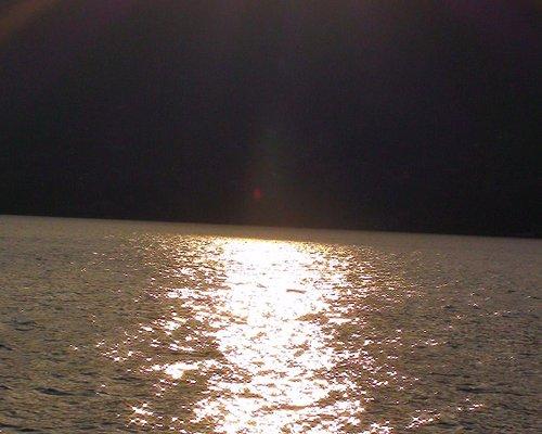 Sunset across church at Lake Como