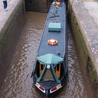 Boat in lower level of middle lock