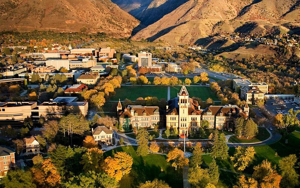 Fall on the campus of Utah State University in Logan, Utah