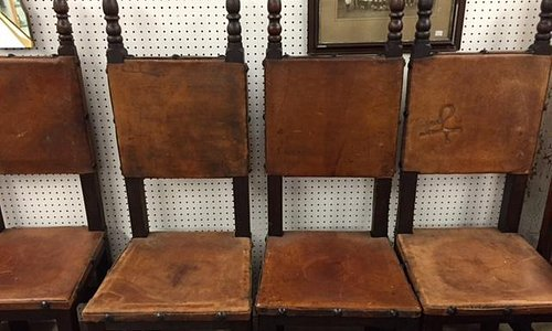 Set of 10 leather high-back chairs