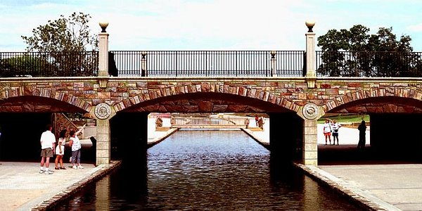 Community Bridge, an artwork with 3000 square feet of fool-the-eye painted stonework.