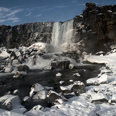 Öxarárfoss in the winter on the Golden Circle tour