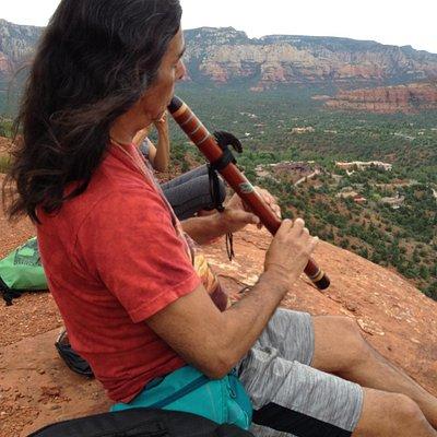 Rahelio playing Native American flute