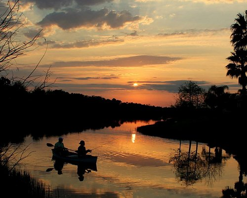 Canoeing close to sunset