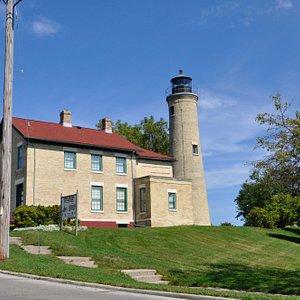 An unusual cream city brick lighthouse