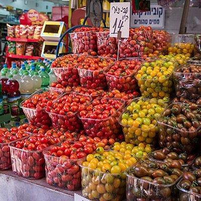 Puestos de frutas y verduras en Carmel Market