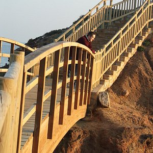 The wooden stairway