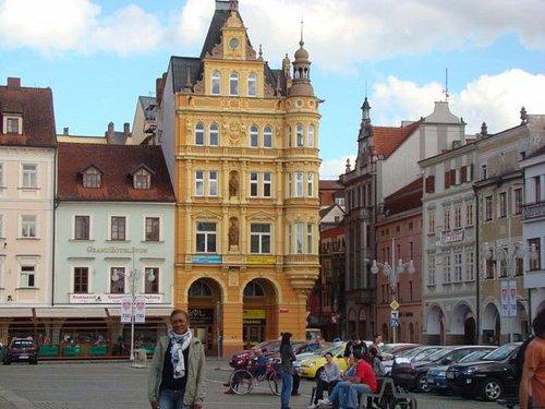Praça central em Budejovick
