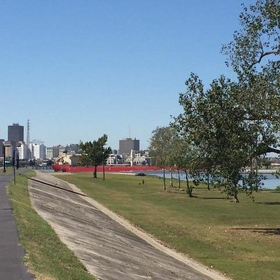 A look back at the city from the Mississippi levee, viewed from my A Musing bike