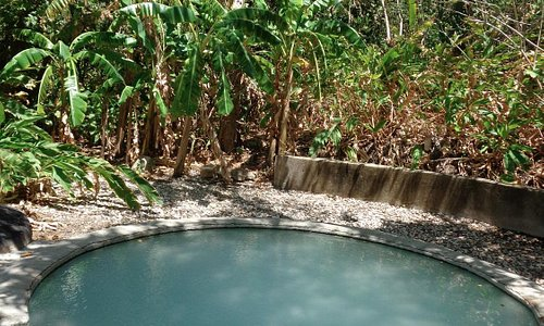 One of four completed geothermal pools over a natural spring