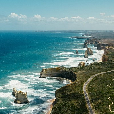 A truly stunning view of the 12 Apostles from sky, Great Ocean Road