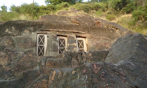 A view of the caves.