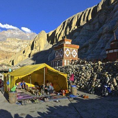 Kamzang Journeys dining tent in Tetang, Upper Mustang, Nepal