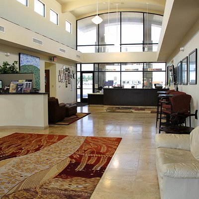 Lobby and desk area inside the Garland Heliport.