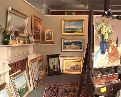 Hillary Osborn is often at the easel in this working studio.