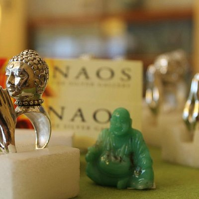 Buddha ring silver 925, jade monk