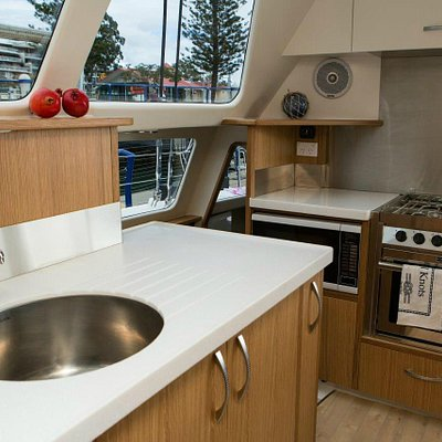 All the comforts including galley and 2 bathrooms