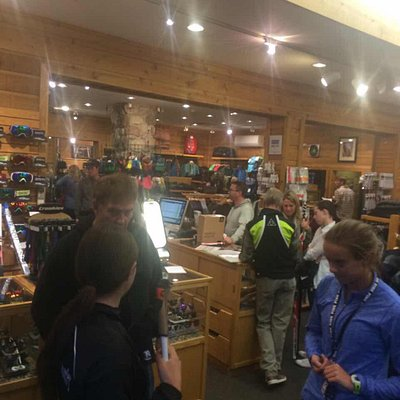 Product reps meet the skiers