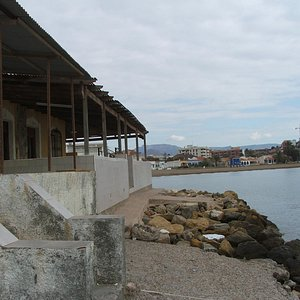 View of the beach from the dilapidated fishing shacks