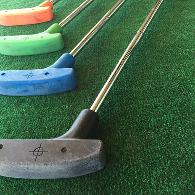 Different sized and colored putters!