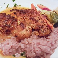 Blackened Grouper with Red Wine Risotto