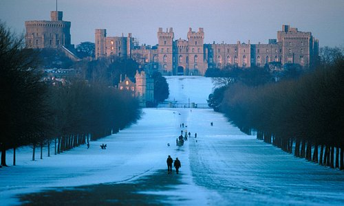 Snowy Windsor Castle from The Long Walk