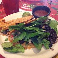 Quesadillas on red corn tortillas!
