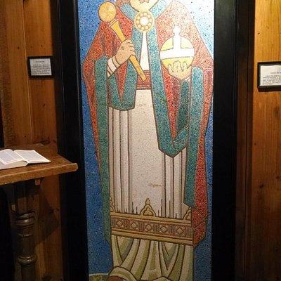 Mosaic in the lower level / columbarium area.