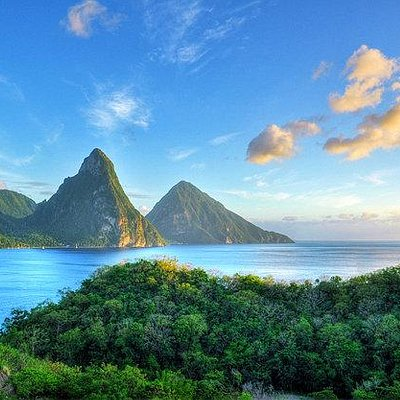 The Pitons rise nearly 1800 feet above sea level, and 29 miles of trails run through (and up) ab