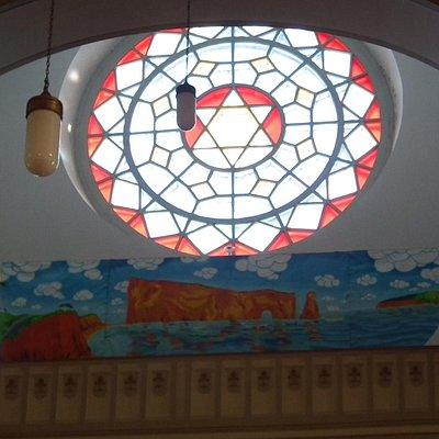 Stained glass and painting of Perce Rock