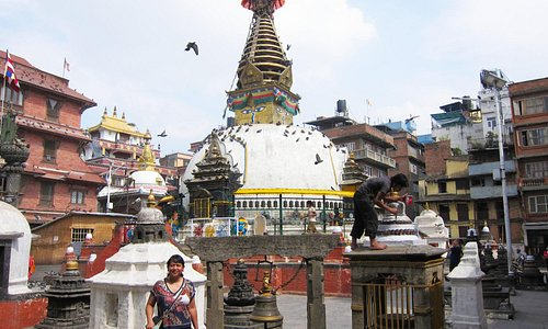 The stupa dominates the compound