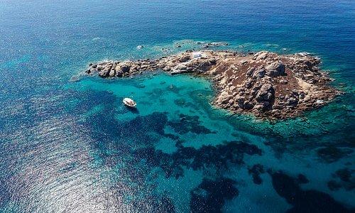 The islet of Parthena with the chapel of Panagia at Mikri Vigla, Naxos