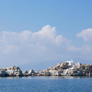 The islet Parthena with the chapel of Panagia at Mikri Vigla, Naxos.