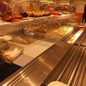 Food on sale in the top floor restaurant.