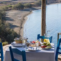 Tsigouri Beach is located within walking distance of the island's main town, Chora (Panagia).