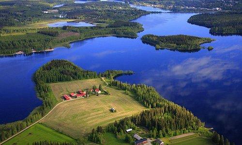 Hyvölän Talo Ähtäri yleisnäkymä ilmasta Ouluvesi/Hyvölänsaari/keskusta