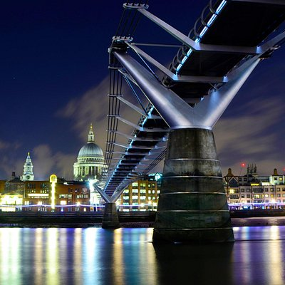 The Millennium bridge taken from the River Thames shore
