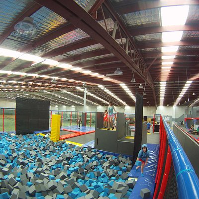 Our foam pit has 2 trampoline entry points along with our jumping towers