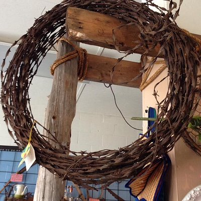 I got this awesome antique barbed wire wreath!