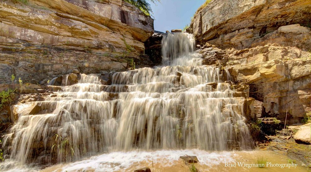 Natural waterfall on site